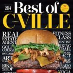 """Cover of """"Best of Cville"""" magazine with stacked burger"""