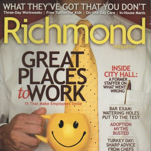 """Cover of """"Richmond"""" magazine of Man holding mug with happy face"""