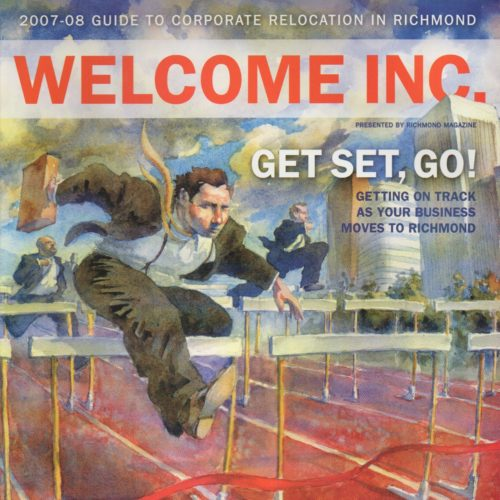 """Cover of """"Welcome"""" Magazine of man jumping hurdles"""