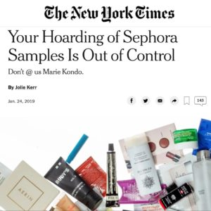 Piles of cosmetics - screen shot from The New York Times article